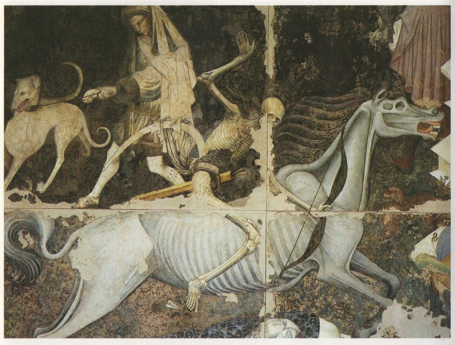 Trionfo della Morte, particolare del cavaliere dell'apocalisse.