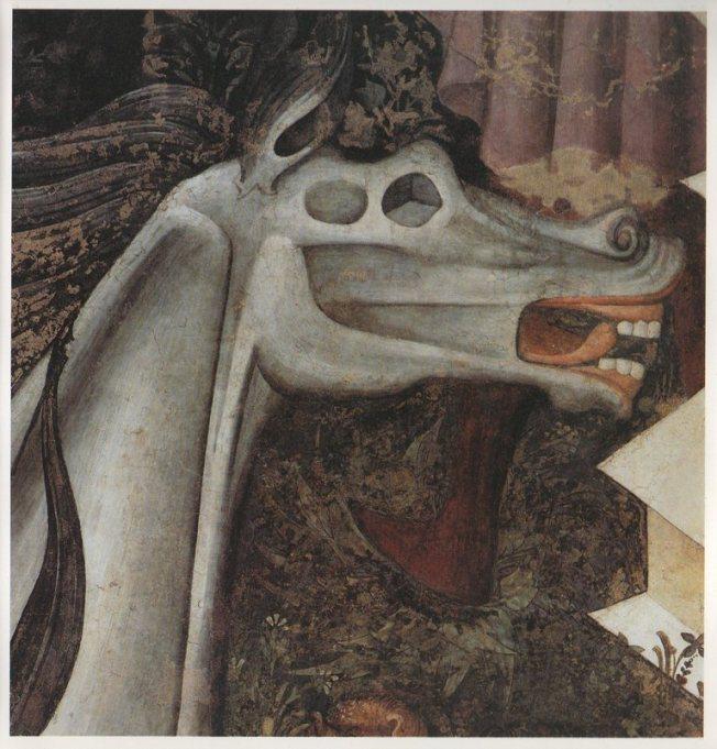 Particolare della testa del cavallo simile a quella di Guernica di Picasso