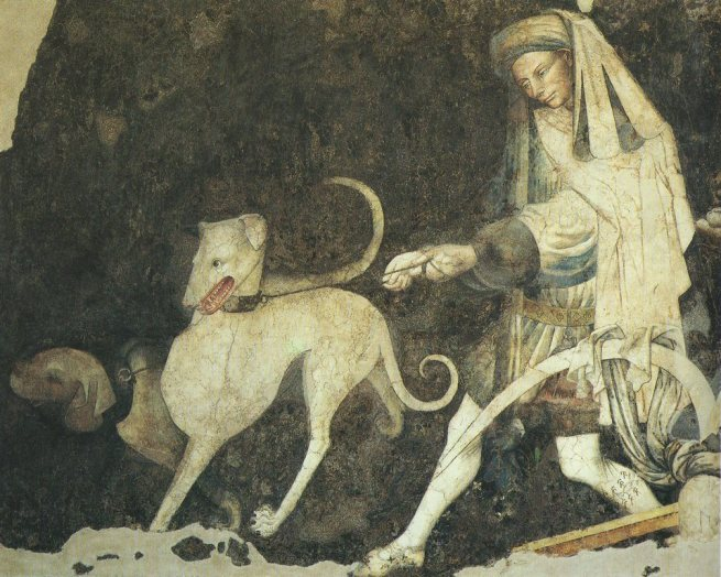 Guardiano con segugi nel Trionfo della Morte