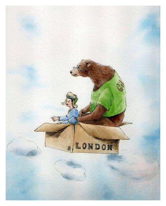 Me and Gilles-Orso e bimba volano dentro una scatola-orso sui cieli di Londra-
